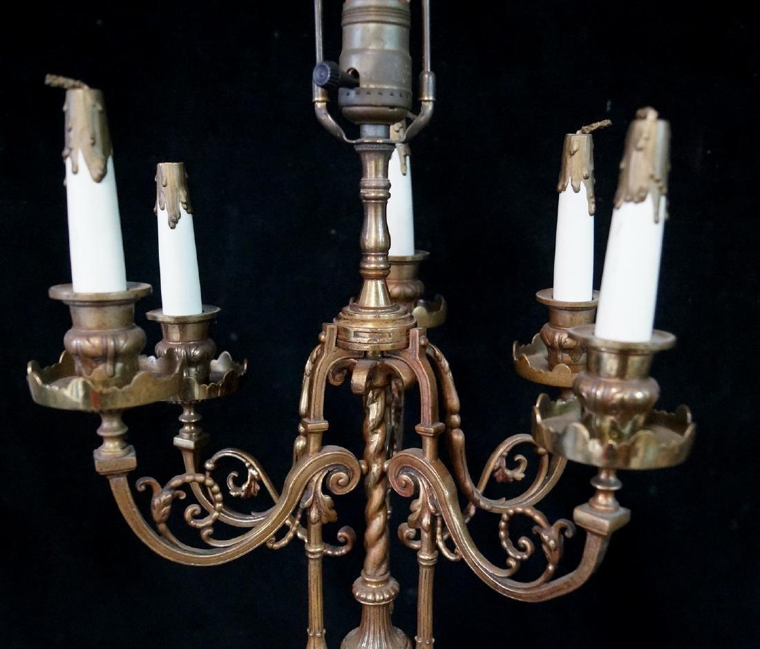 ANTIQUE BRONZE FIGURAL CANDELABRA LAMP - 3