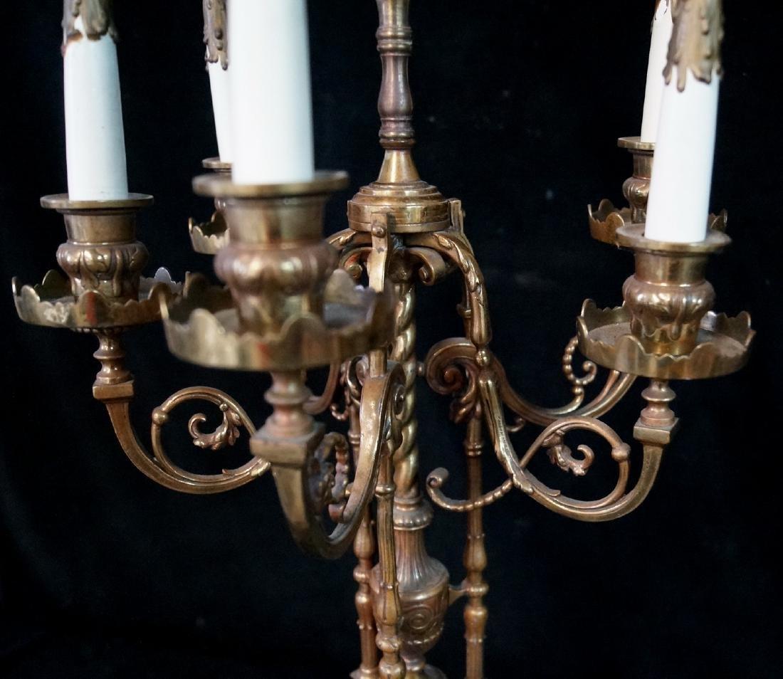 ANTIQUE BRONZE FIGURAL CANDELABRA LAMP - 6