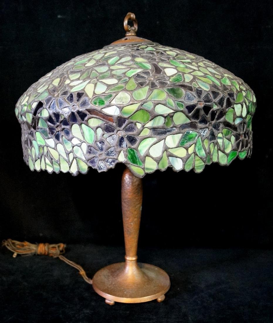 HANDEL LAMP W/ SGN. BASE & FLORAL LEADED GLASS SHADE