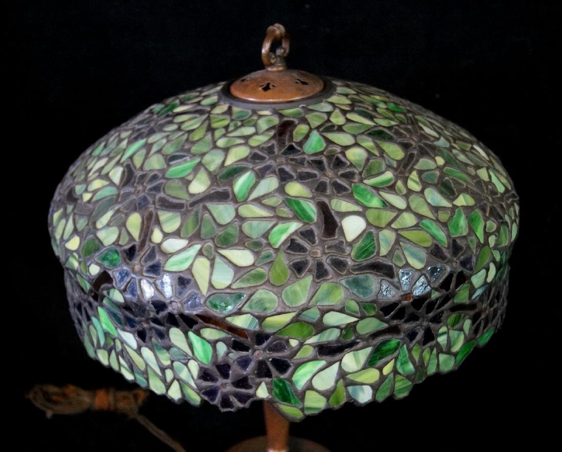 HANDEL LAMP W/ SGN. BASE & FLORAL LEADED GLASS SHADE - 2