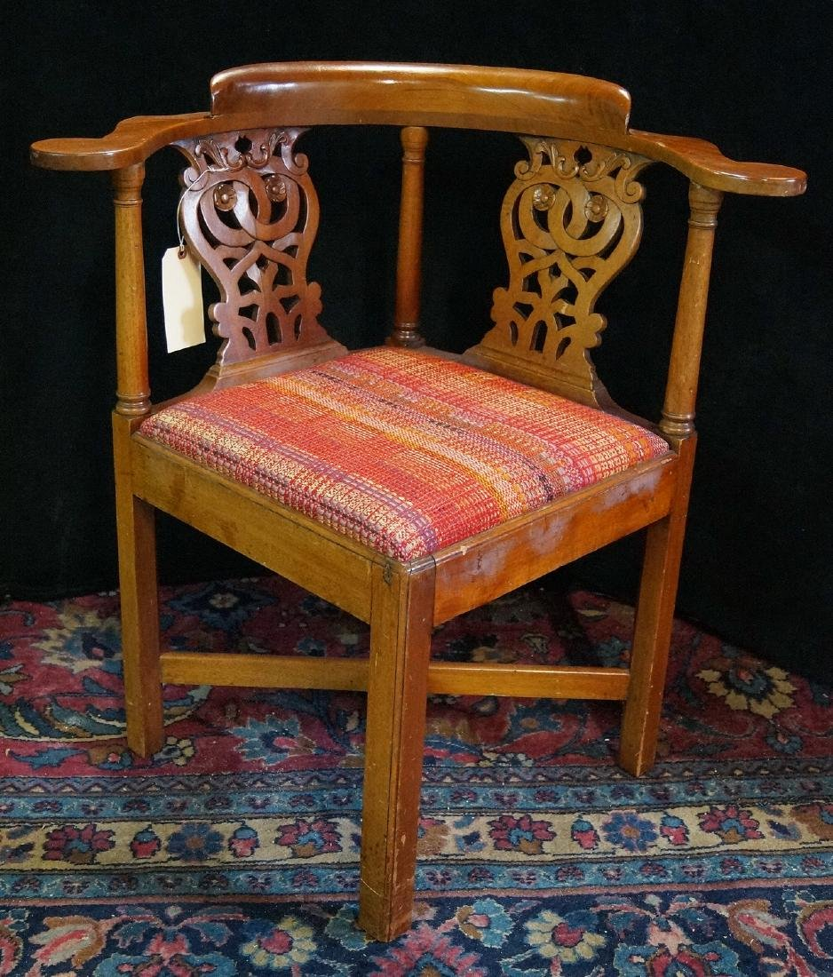 19TH C. MAHOGANY CORNER CHAIR