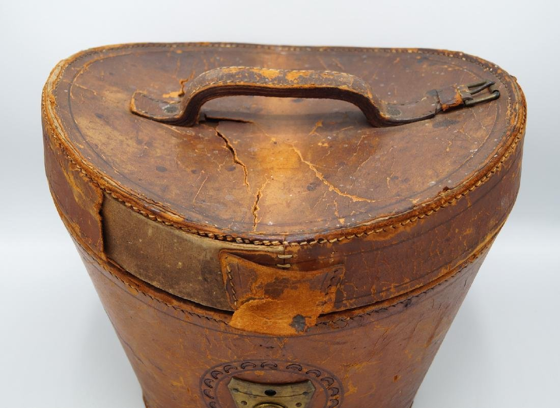 VINTAGE LEATHER HAT BOX - 2