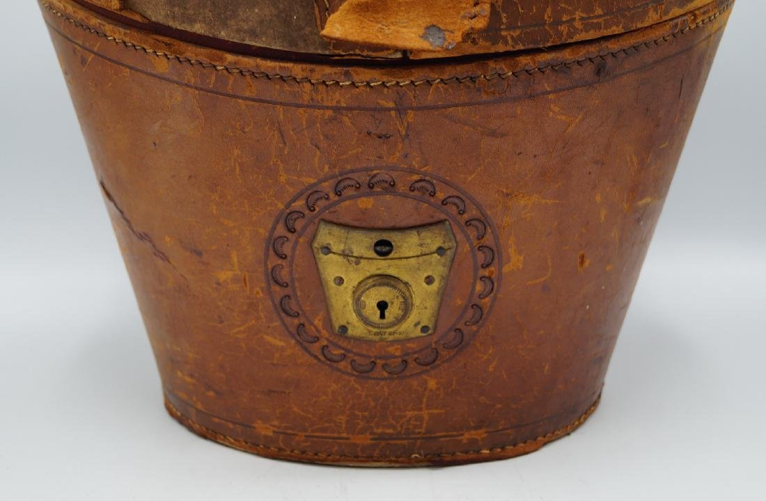 VINTAGE LEATHER HAT BOX - 3