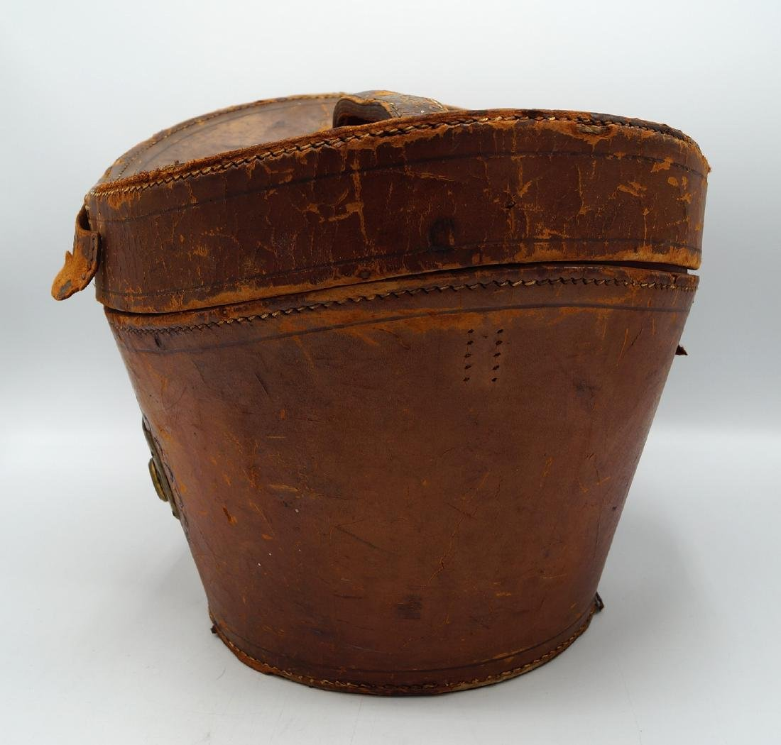 VINTAGE LEATHER HAT BOX - 4