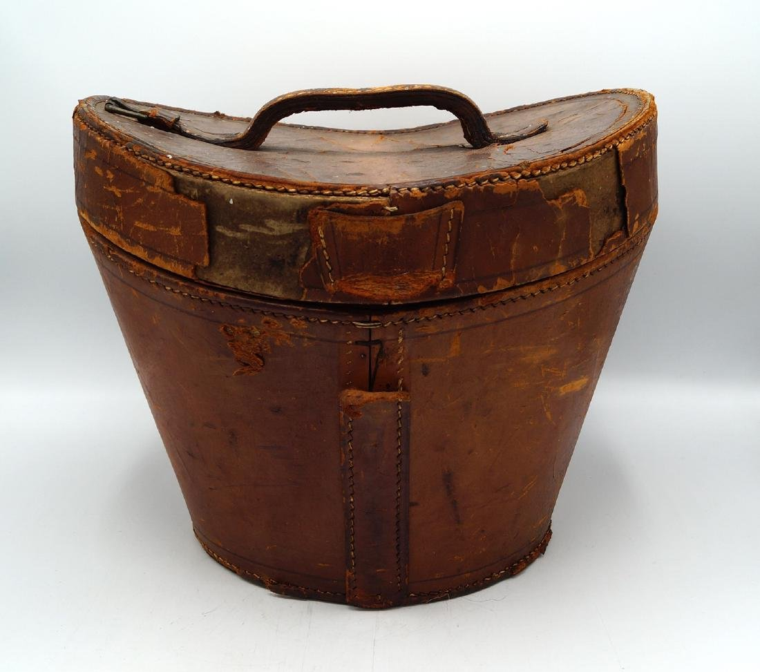 VINTAGE LEATHER HAT BOX - 5
