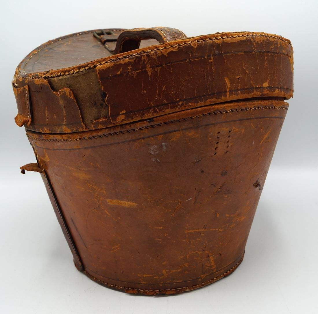 VINTAGE LEATHER HAT BOX - 6