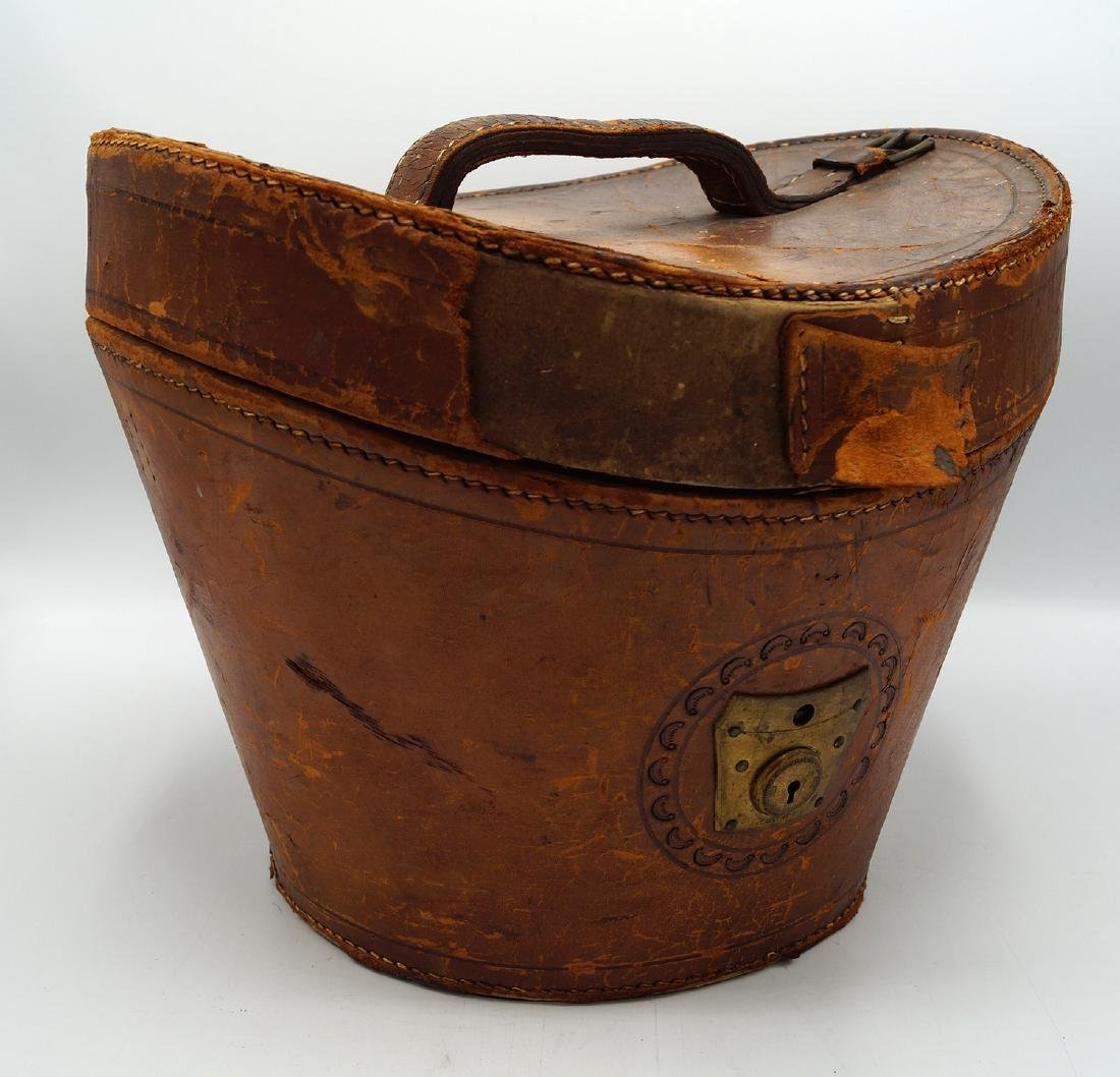 VINTAGE LEATHER HAT BOX - 7