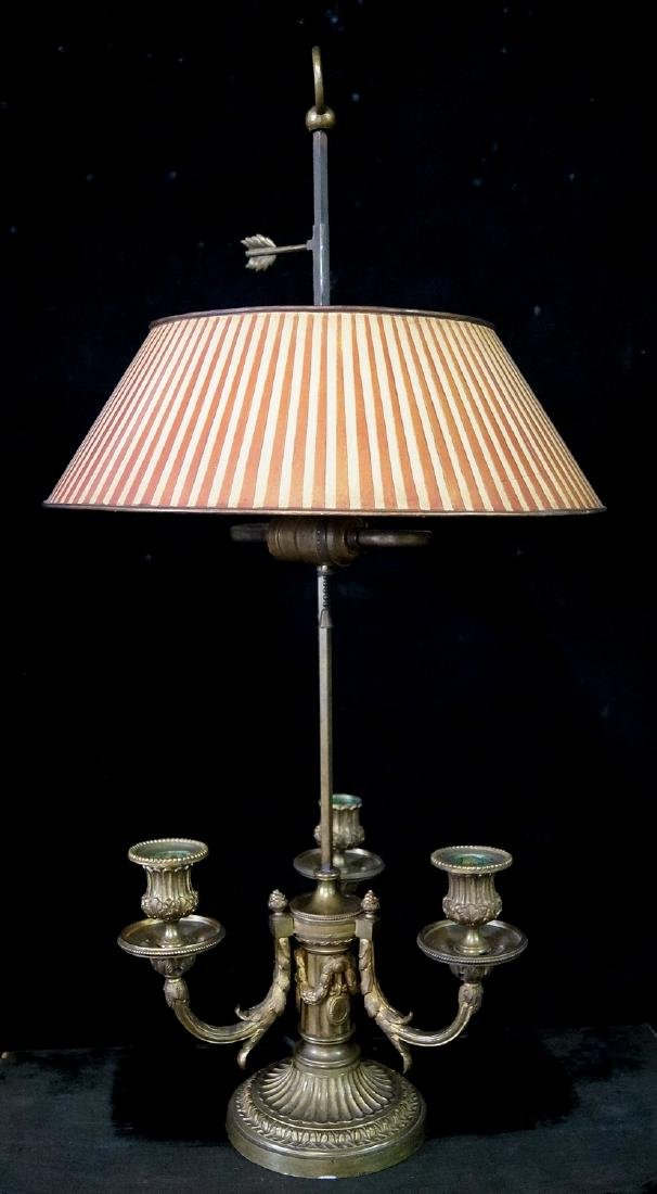 BRONZE BOUILLOTTE LAMP W/TOLE SHADE