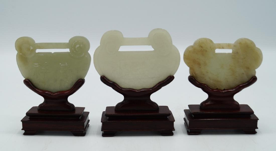 GROUP 3 JADE PLAQUES ON STANDS