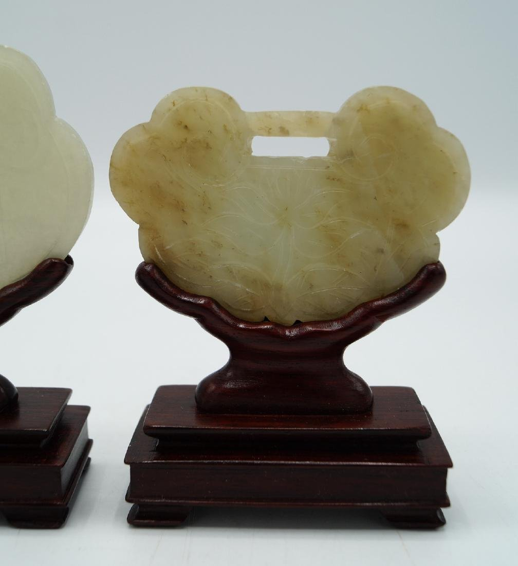 GROUP 3 JADE PLAQUES ON STANDS - 2