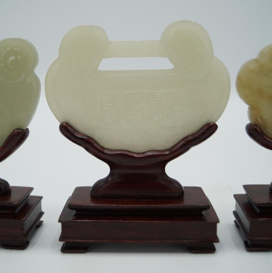 GROUP 3 JADE PLAQUES ON STANDS - 3