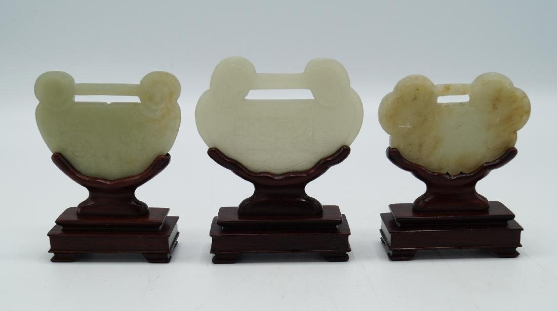 GROUP 3 JADE PLAQUES ON STANDS - 7