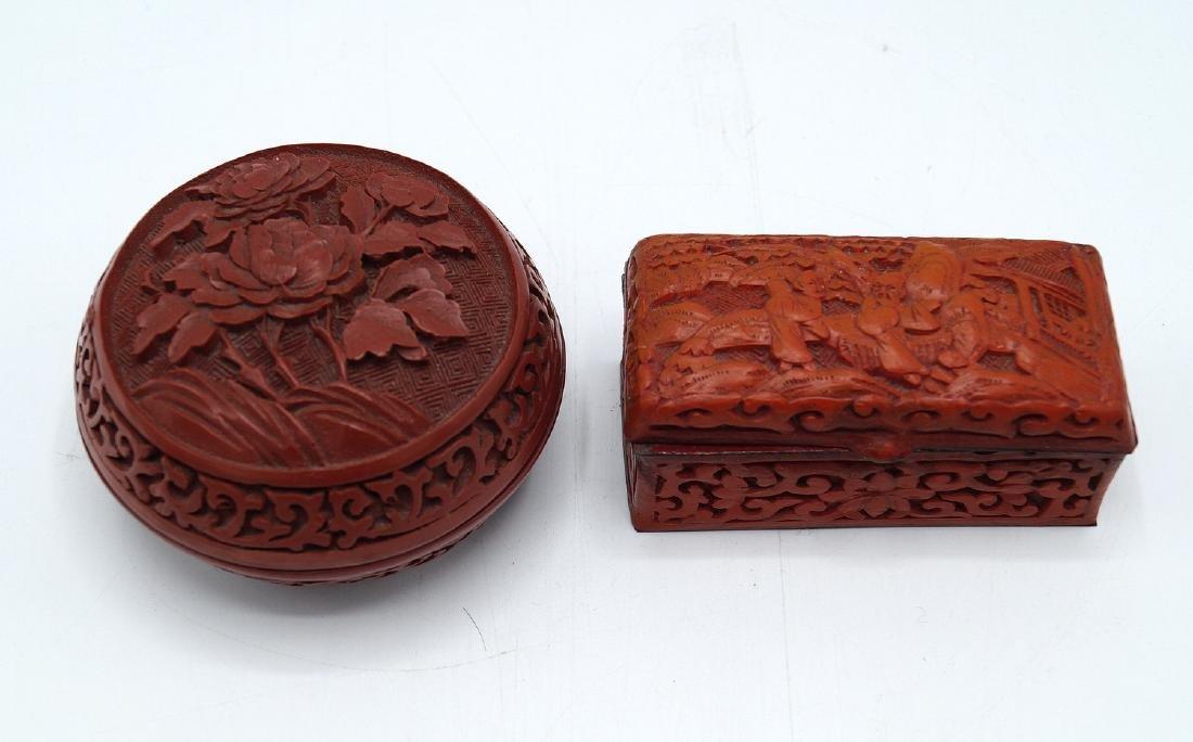 2 SMALL FAUX CINNABAR BOXES