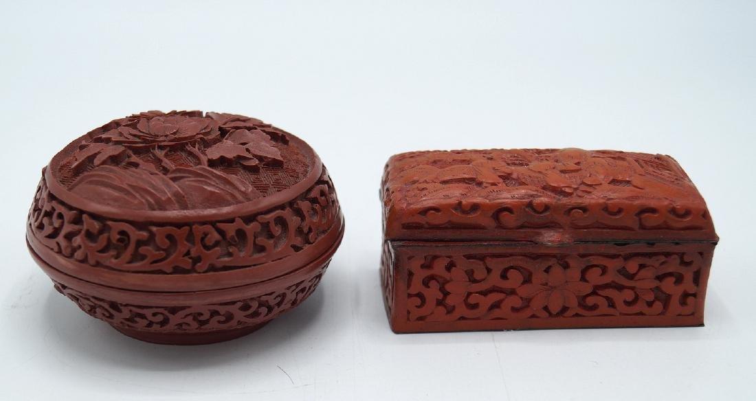2 SMALL FAUX CINNABAR BOXES - 3