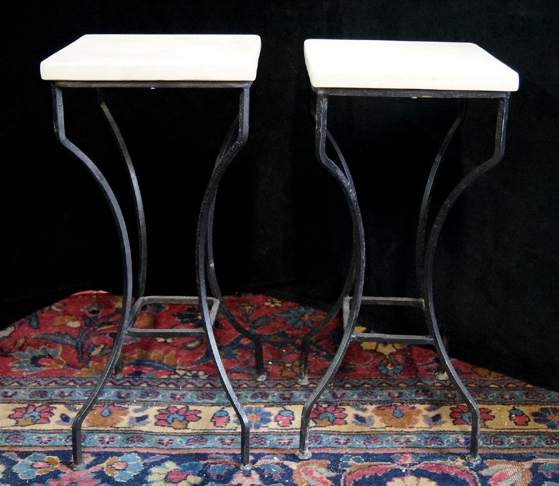 PR. WROUGHT IRON MARBLE TOP STANDS