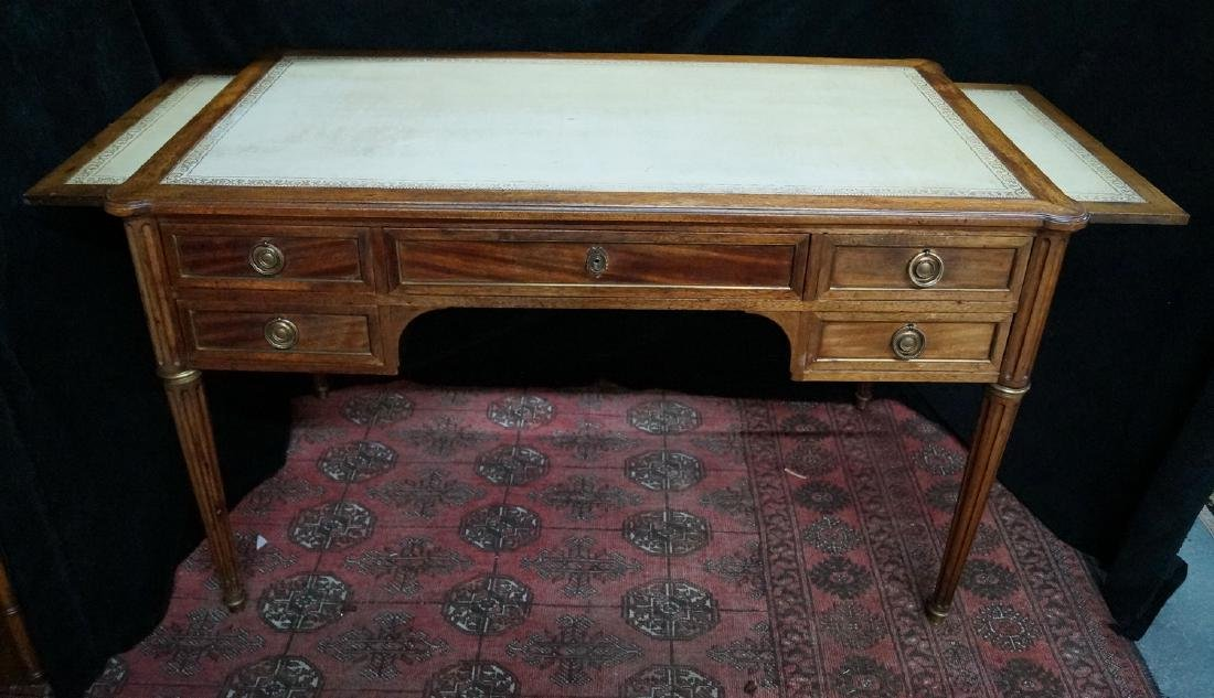 """LOUIS XVI STYLE LEATHER TOP FRUITWOOD DESK 30""""H X 50""""W - 6"""