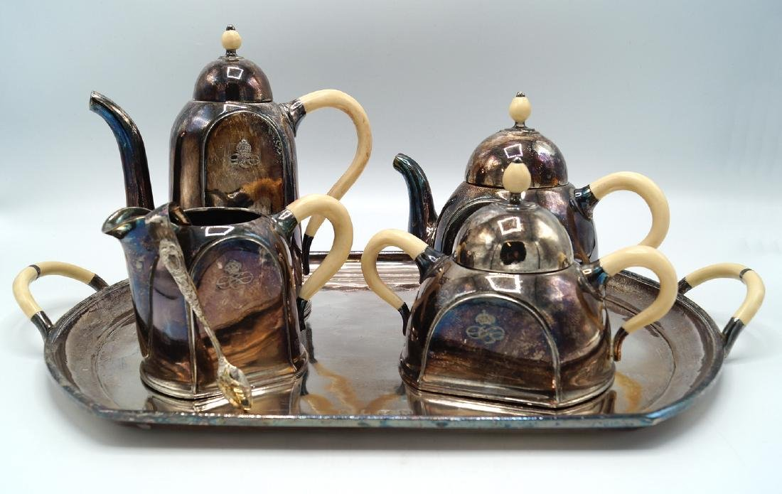 5 PC SILVERPLATE & BONE TEASET