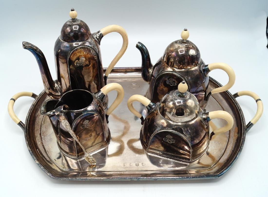 5 PC SILVERPLATE & BONE TEASET - 2