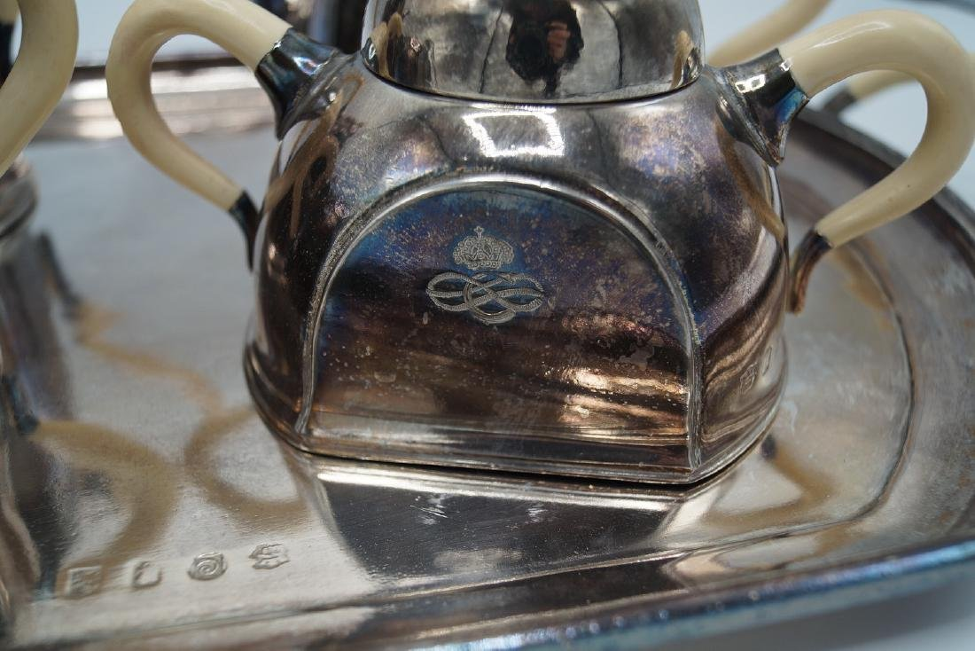 5 PC SILVERPLATE & BONE TEASET - 4