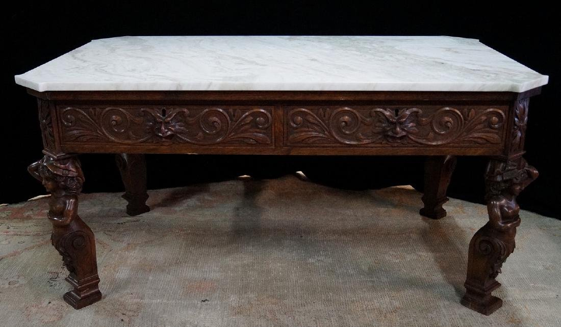 FIGURAL CARVED WOOD MARBLE TOP LOW TABLE