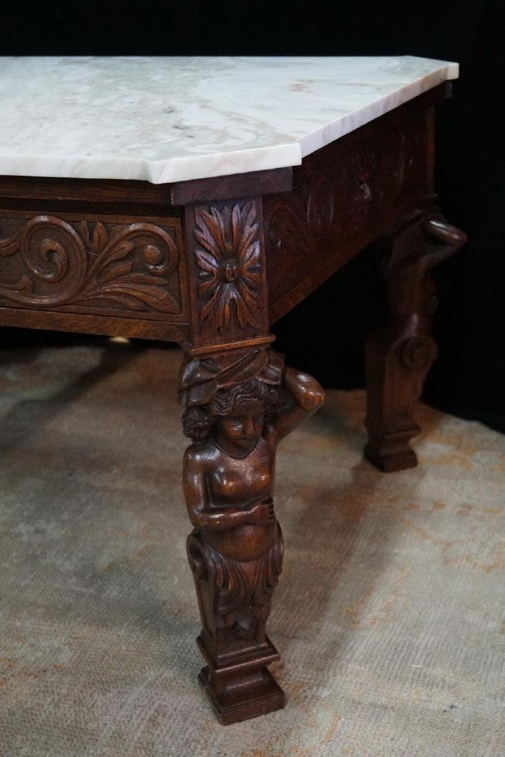 FIGURAL CARVED WOOD MARBLE TOP LOW TABLE - 2