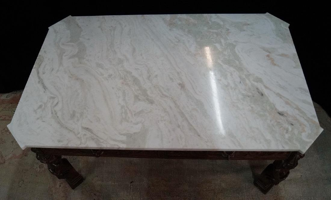 FIGURAL CARVED WOOD MARBLE TOP LOW TABLE - 5