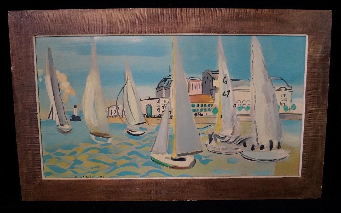 "RAOUL DUFY SGN. LITHOGRAPH ""SAILBOATS"" 1938"