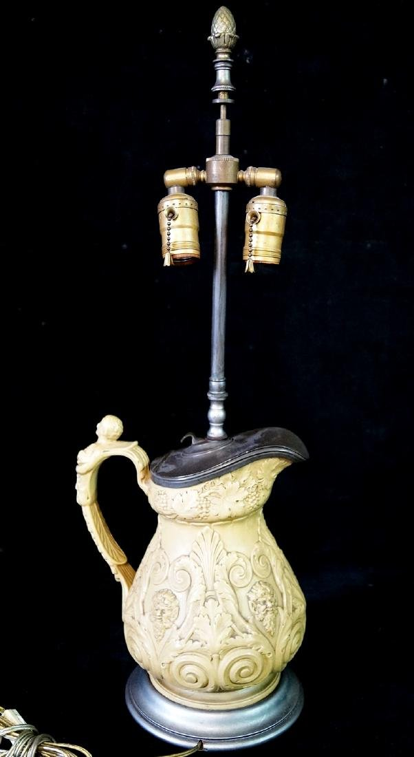 "ENGLISH POTTERY & PEWTER LAMP 25.5""H 9"" AT WIDEST"