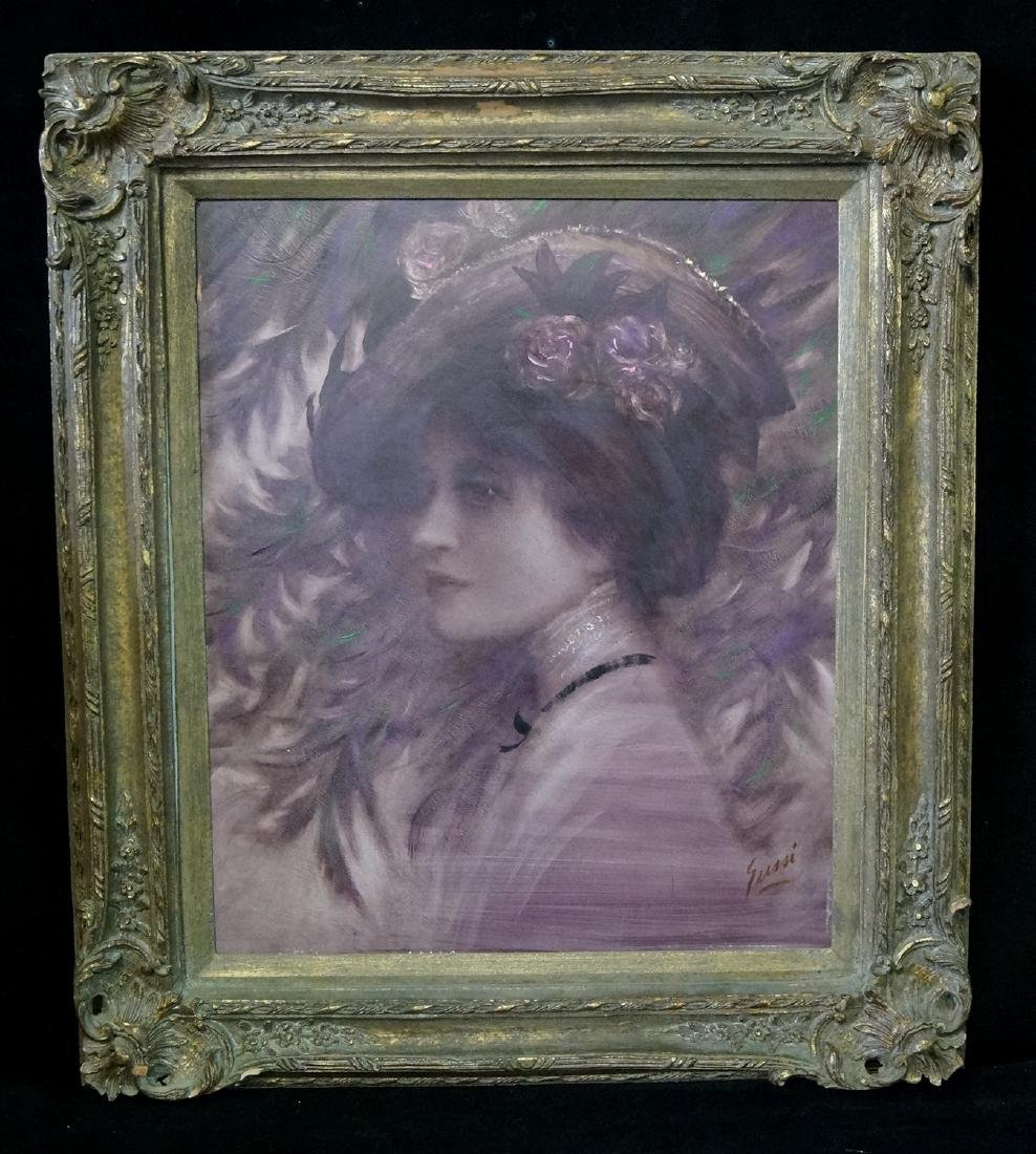 OIL ON BOARD BEARS SIGNATURE SUSSI PORTRAIT OF A WOMAN