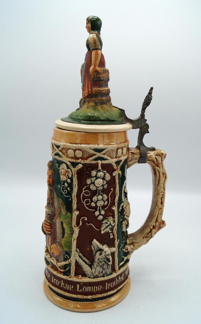 3 GERMAN STEINS FIGURAL LIDS - 11