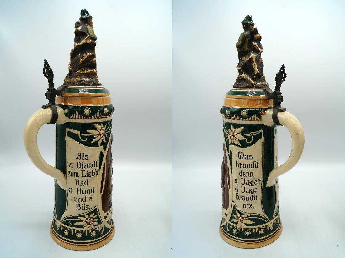 3 GERMAN STEINS FIGURAL LIDS - 4