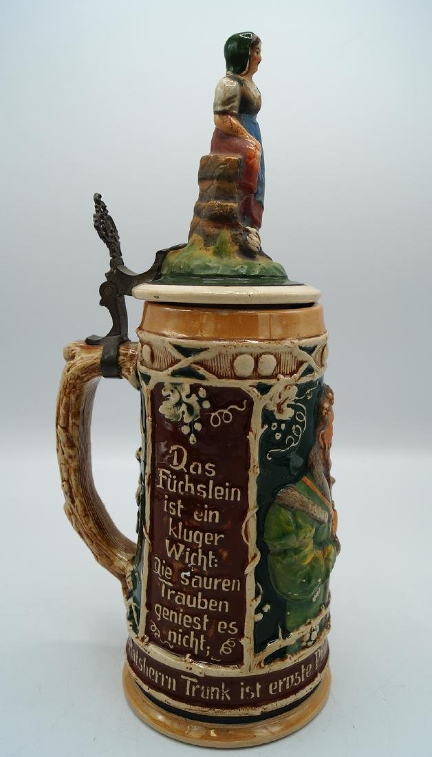 3 GERMAN STEINS FIGURAL LIDS - 9