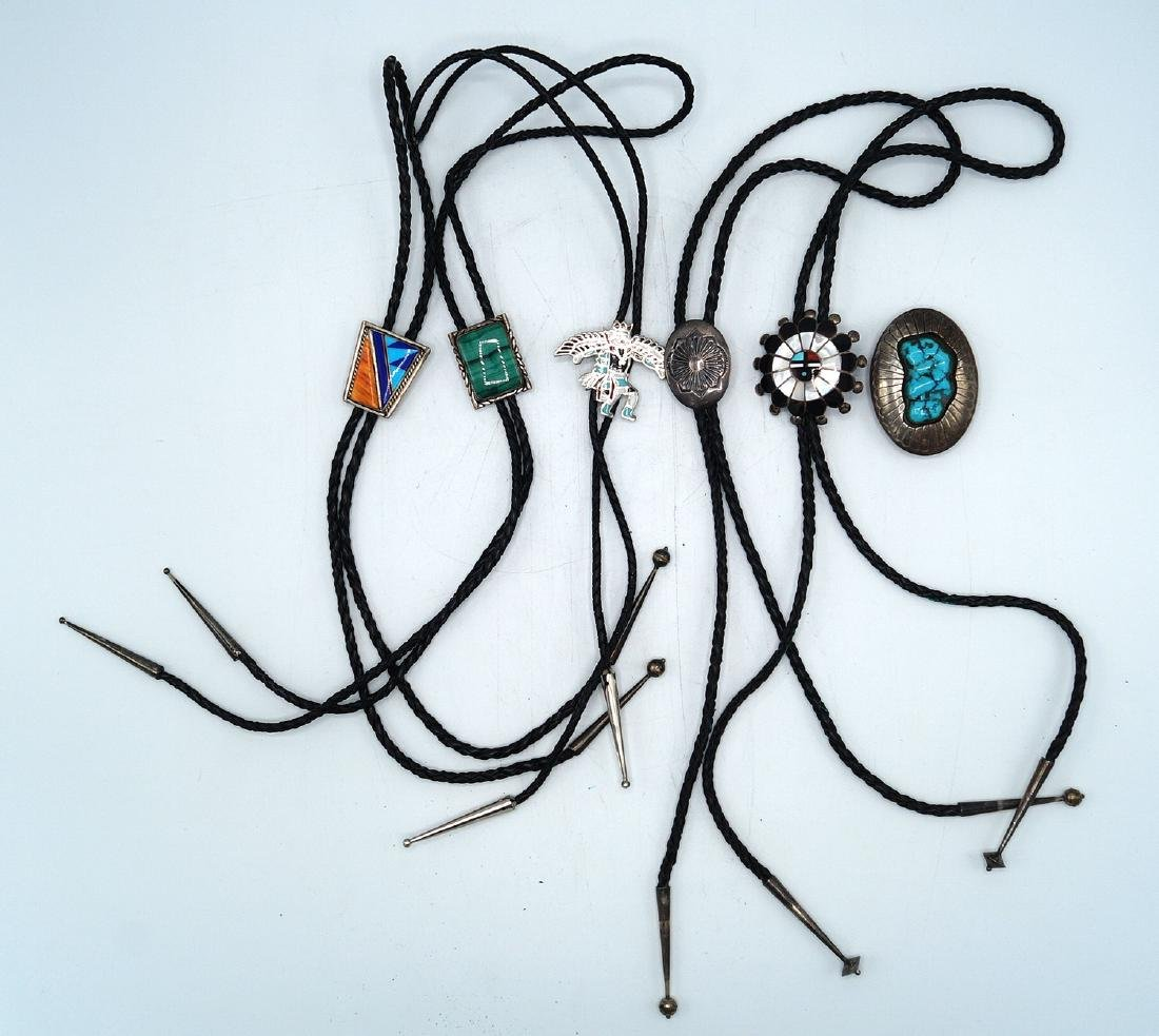 LOT BOLO TIES SOME STERLING
