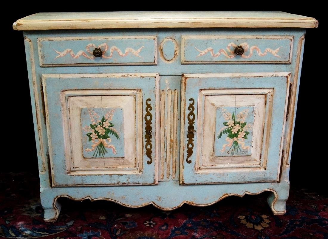 ANTIQUE PAINT DECORATED 2 DRAWER WASHSTAND