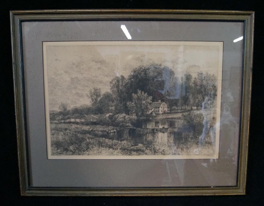 "A.F. BELLOWS ETCHING ""PASTORAL LANDSCAPE"""