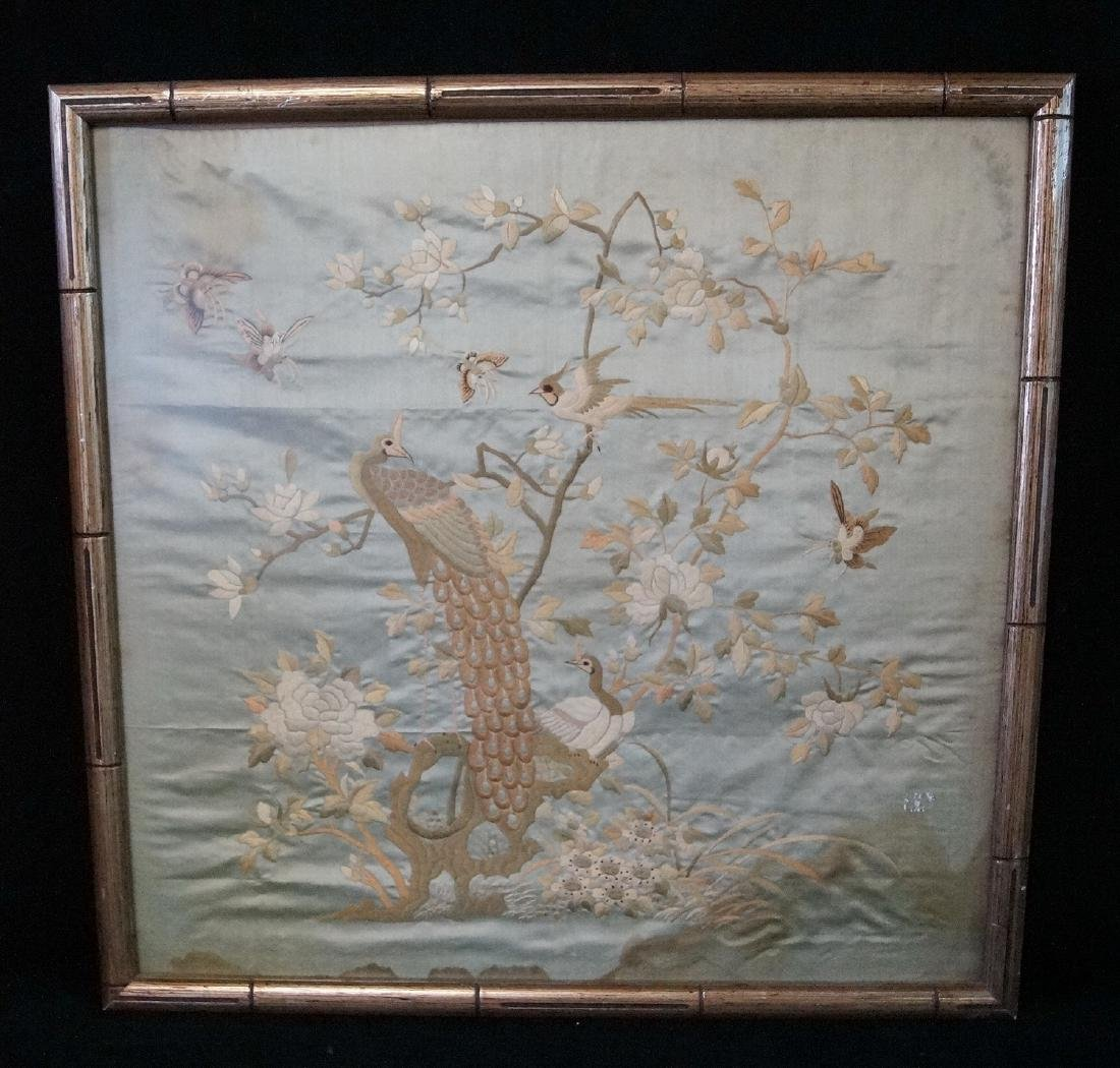 "CHINESE SILK EMBROIDERY ""PEACOCKS"""