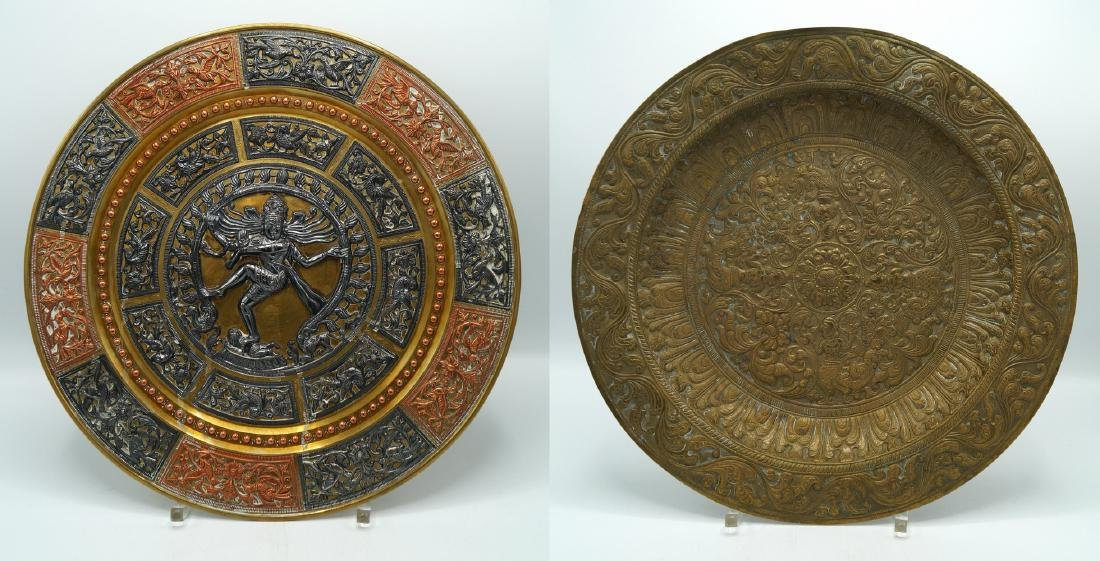 PR. METAL INDIAN DECORATED WALL PLAQUES