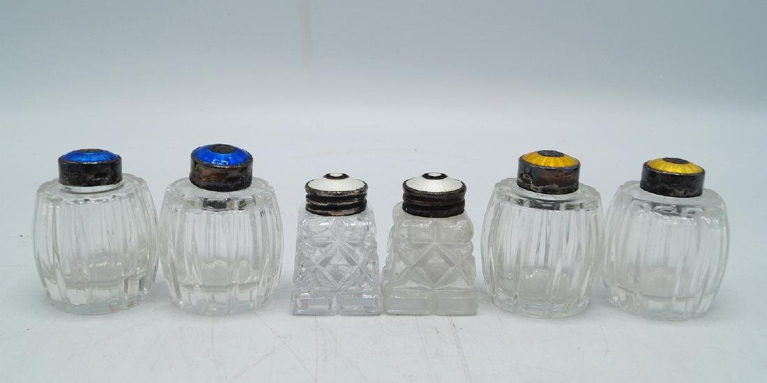 3 PR. ENAMEL & STERLING CAP SALT & PEPPER SHAKERS
