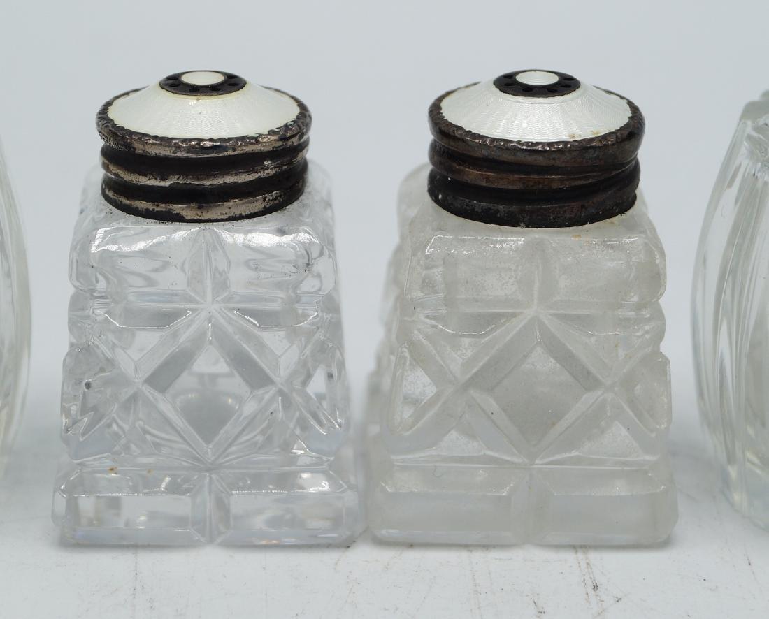 3 PR. ENAMEL & STERLING CAP SALT & PEPPER SHAKERS - 3