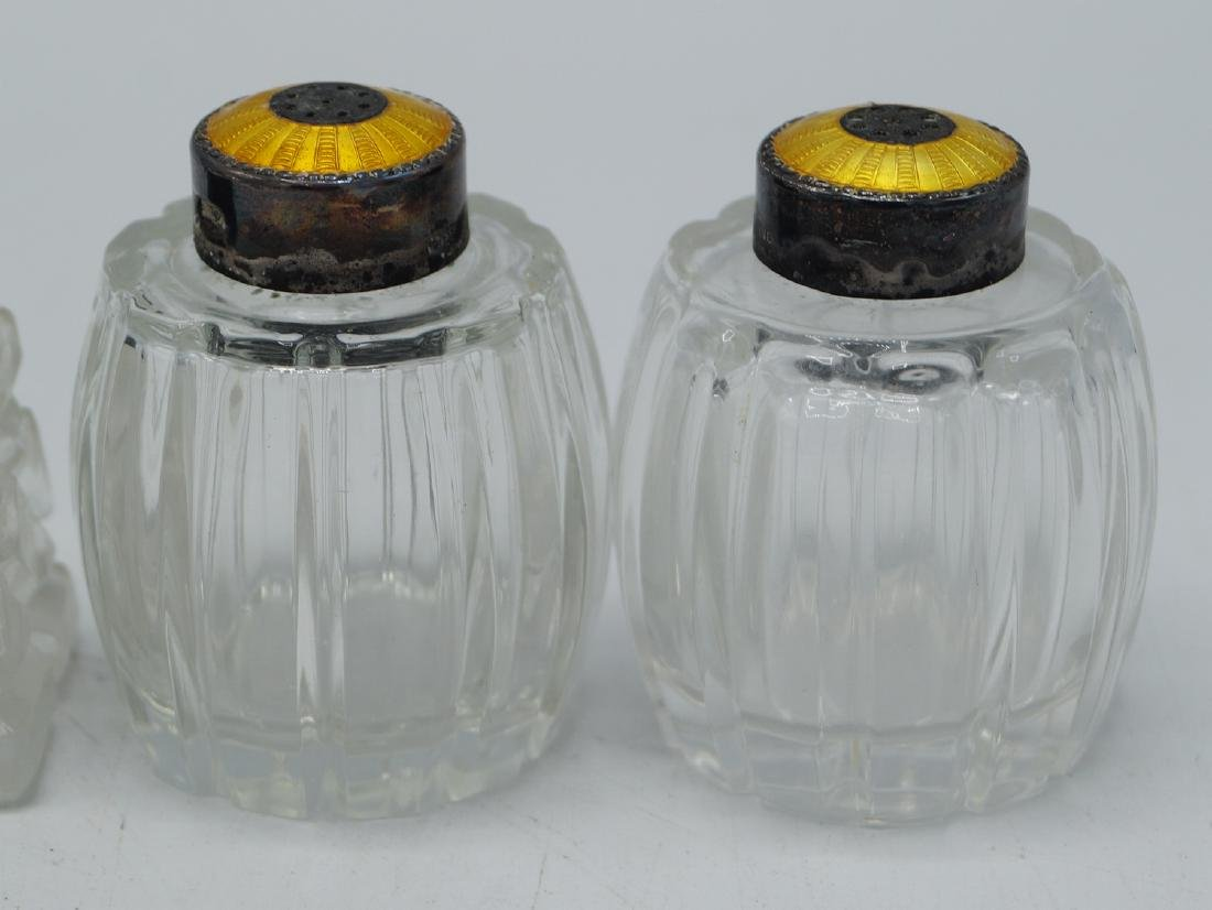 3 PR. ENAMEL & STERLING CAP SALT & PEPPER SHAKERS - 4