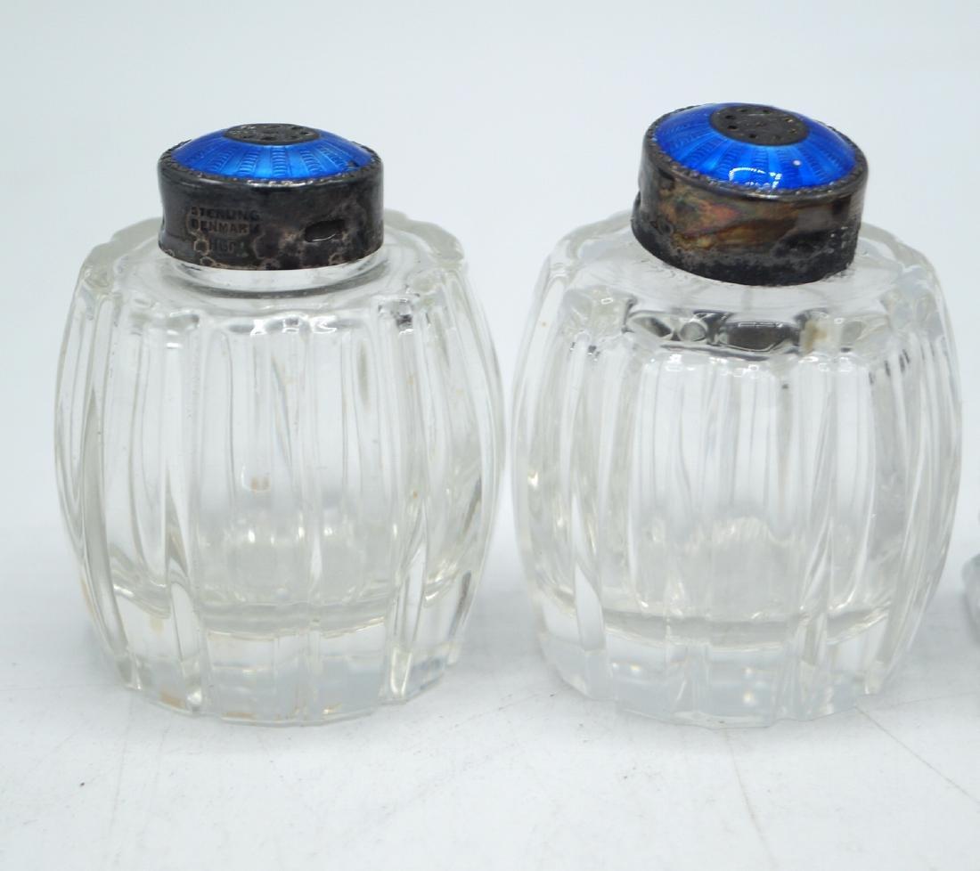 3 PR. ENAMEL & STERLING CAP SALT & PEPPER SHAKERS - 5