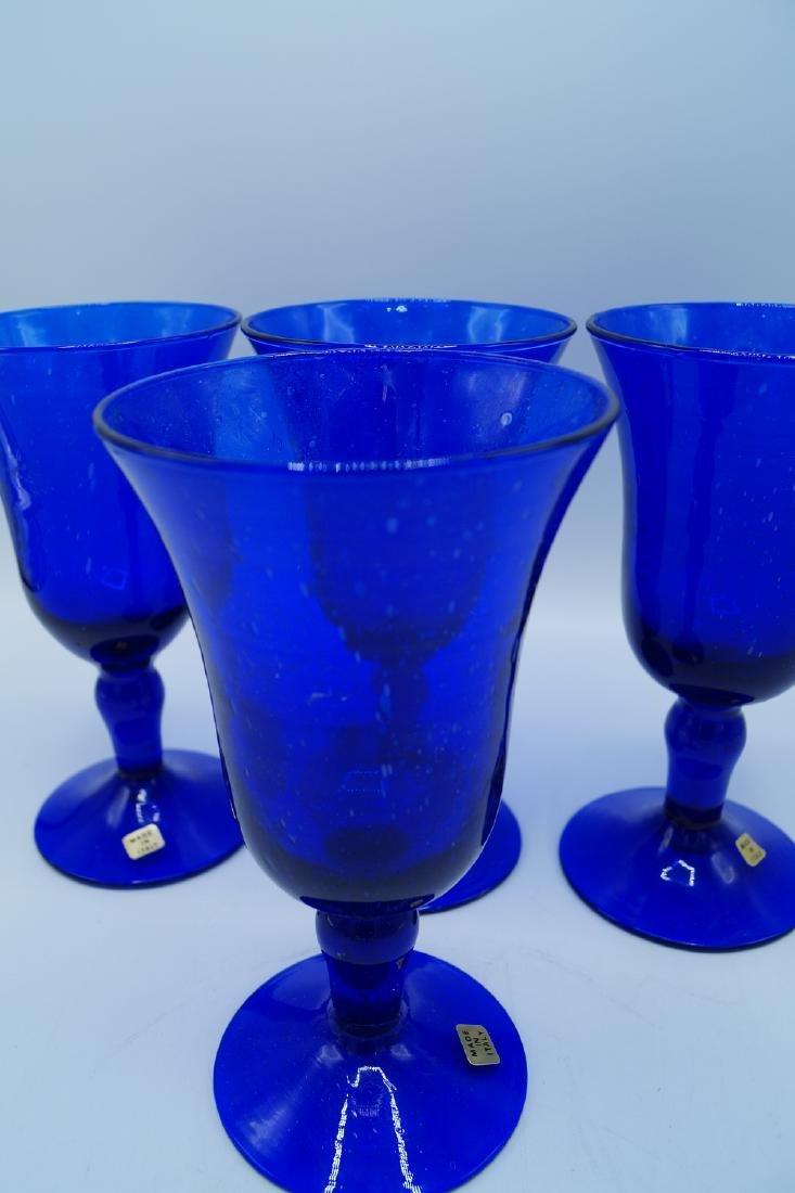 4 COBALT ITALIAN HAND BLOWN GLASSES - 3