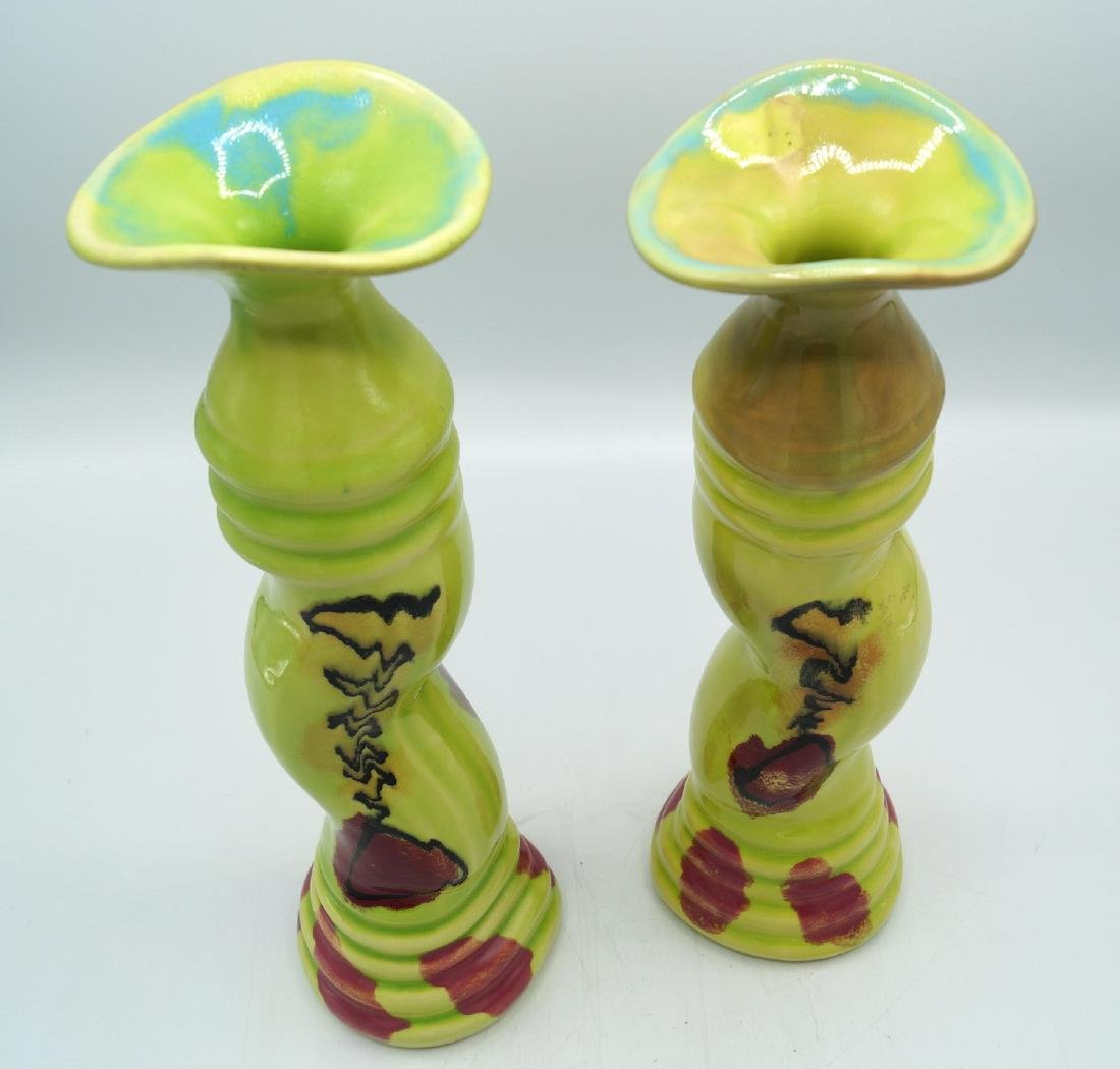 PR. CERAMIC CANDLESTICKS LENOX CANDY DISH & BLUE GREEN - 4