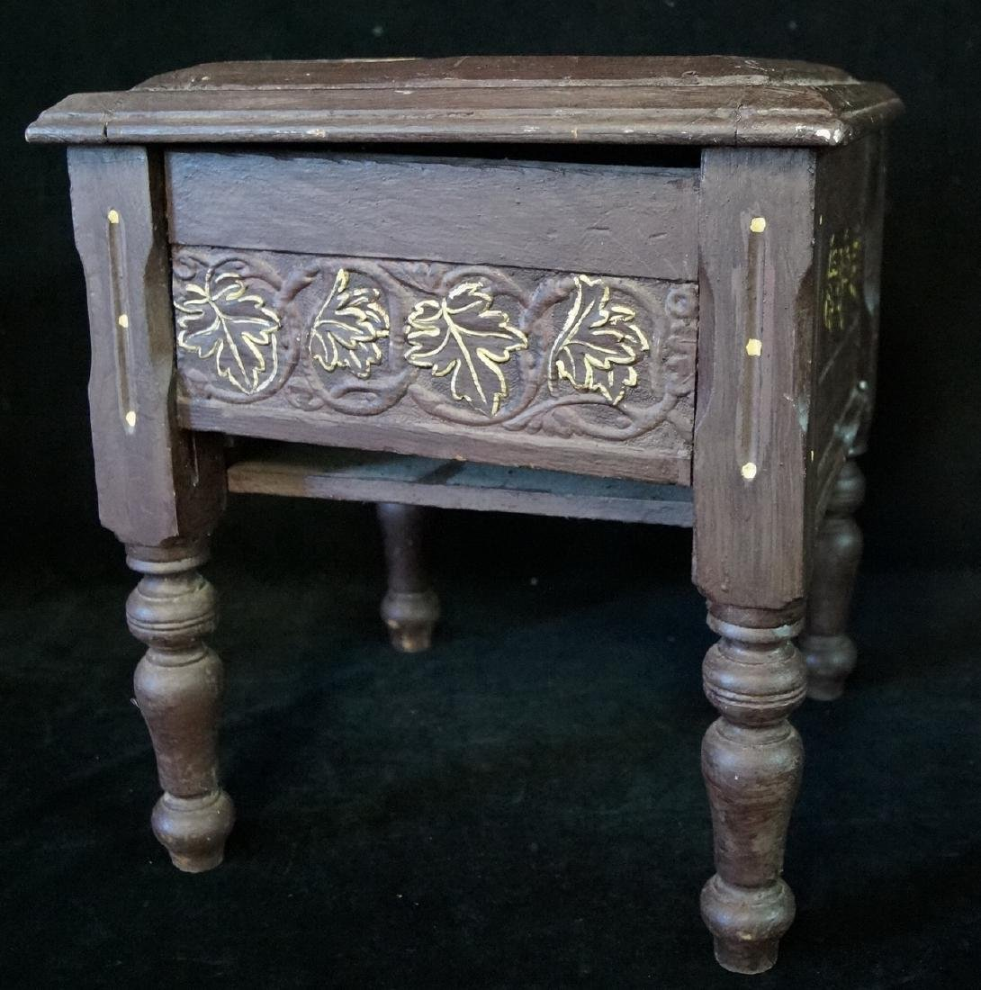 CARVED & PAINT DECORATED SHOE BENCH - 2