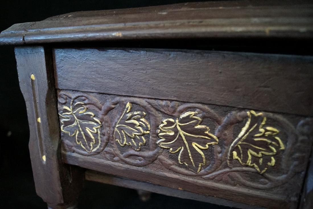 CARVED & PAINT DECORATED SHOE BENCH - 3