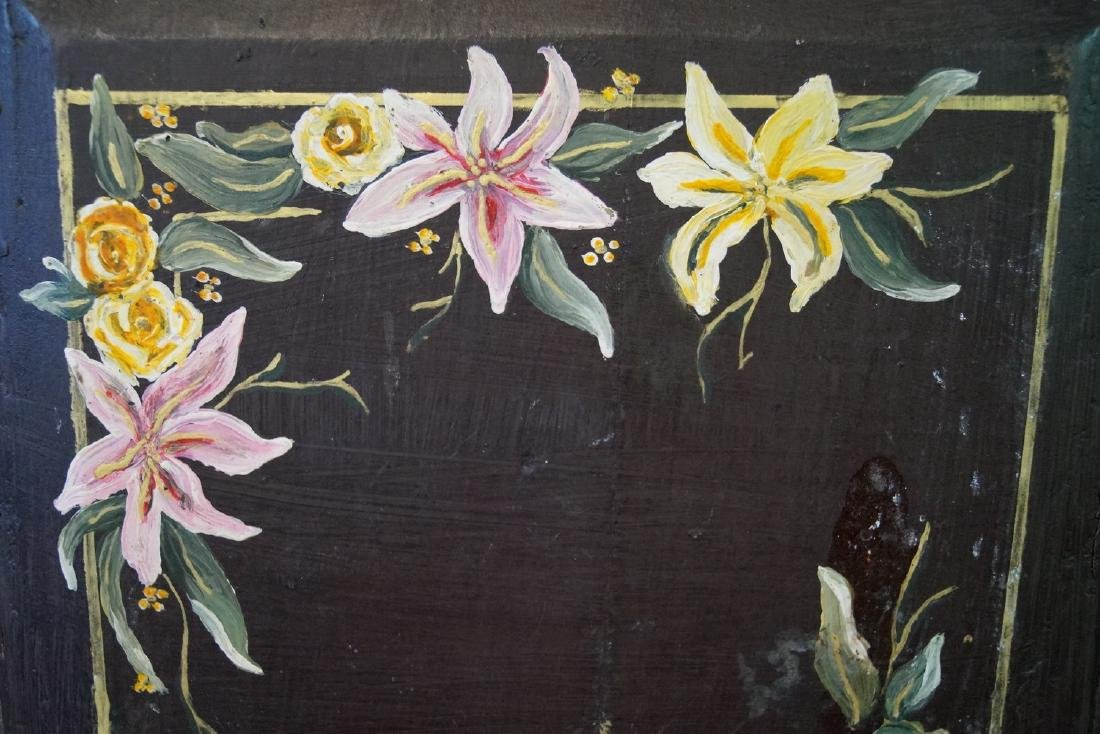 CARVED & PAINT DECORATED SHOE BENCH - 8
