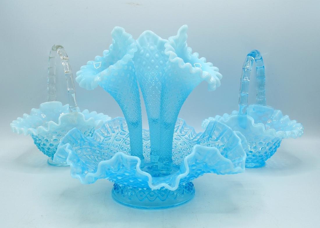3 PCS. BLUE HOBNAIL GLASS