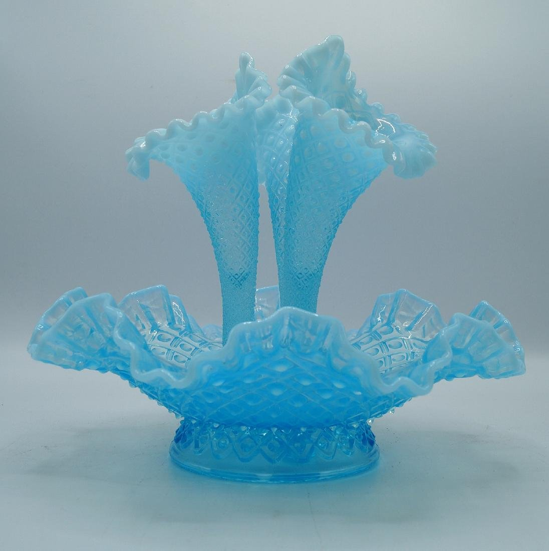 3 PCS. BLUE HOBNAIL GLASS - 4