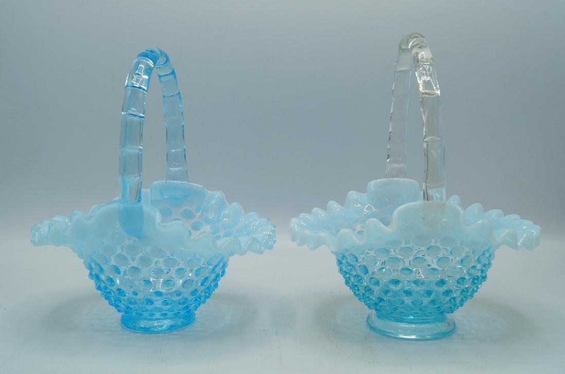 3 PCS. BLUE HOBNAIL GLASS - 5