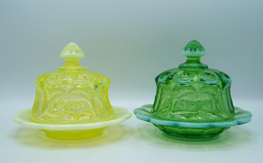 2 VASELINE GLASS COVERED DISHES